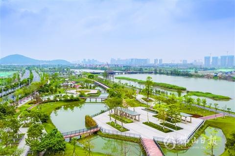 顺德 德民路东延线绿化景观带绿草如茵,风景秀丽.